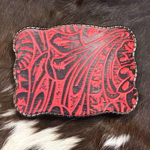 Wallet Buckle embossed leather - Sassy Red