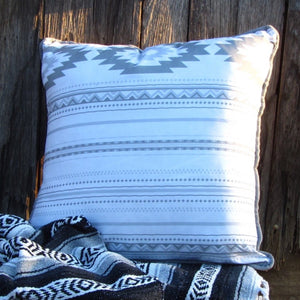The Free Spirit Grande size cushion, with tranquil hues of soft grey and light Aztec print will add that relaxed western feel any space.