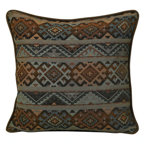 "Sourced by us from Dallas Texas, this textile pays homage to the old west with an modern twist. You will find these designs styled luxury ranches, cowgirl magazines and western boutiques.   The Del Rio Grande collection features modern Southwest textile in rich blue and copper brown with dark brown faux suede/leather accents.   Euro super large 27"" inch day cushion, fully reversible basket weave back with Western Concho accent. Comes with custom full eco inner."