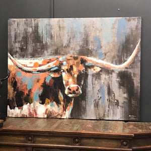 Midnight Longhorn Canvas