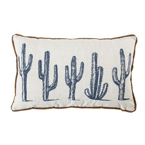 Cactus Line Up - lumbar cushion with waterfowl feathers
