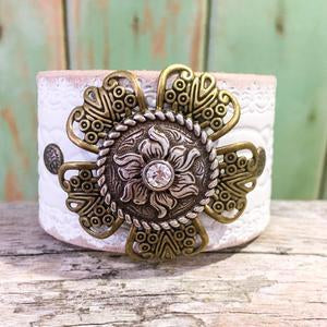 Penny Flower leather cuff