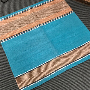 "Wool saddle blanket  - Teal design 38"" x 34"""