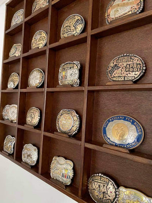 Trophy Buckle wall display. Custom made to order.