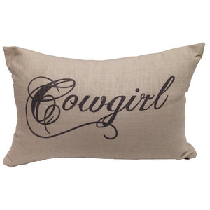 Cowgirl Cushion with waterfowl feathers