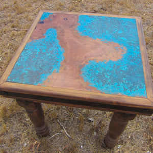 Brazos copper side table