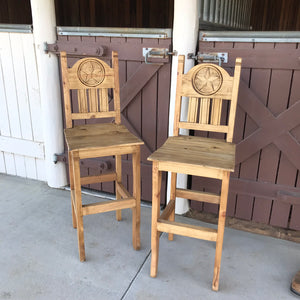 Texas Wooden Barstool pair 30""