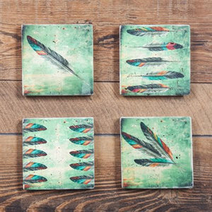 Travertine Stone painted coasters - feather design