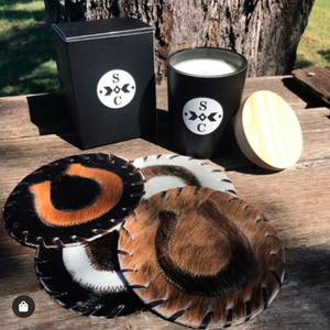 Horseshoe Hide Coasters - 4 set