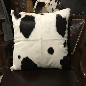 Deluxe Cowhide Cushion - Black + White
