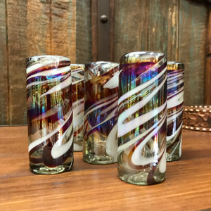Mexican handblown shot glass - Swirl