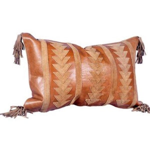 Delano Tobacco leather throw cushion