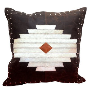 Enmity leather and hide throw cushion