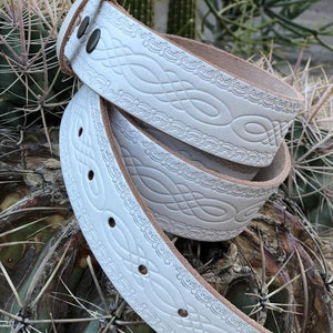 White embossed leather belt - all sizes - New stock