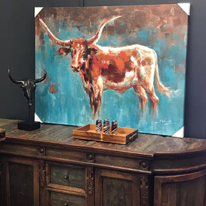 Teal Longhorn Canvas