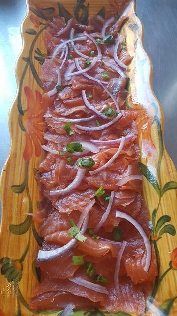 Platter of Fresh Lox with Capers & Onion