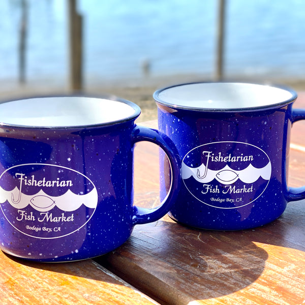Set of Fishetarian Campfire Ceramic Mug - Royal Blue  - 15 oz.