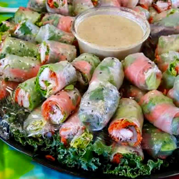 Spring Rolls with Tahini Dipping Sauce