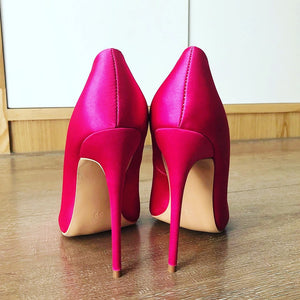 Hot Pink Silk Satin Pumps
