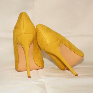 Yellow Flock Pumps Shoes