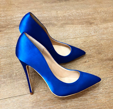 Royal Blue Silk Satin Pumps Shoes