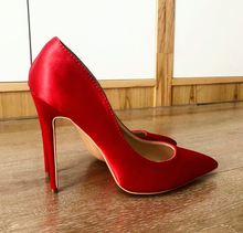 Red Silk Satin Pumps