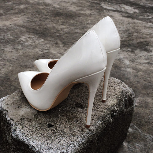 White Patent Leather Pumps Shoes