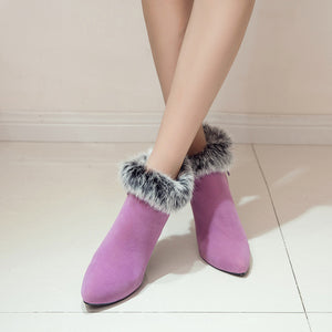 Purple Boots with Fur