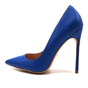 Solid Blue Matte Pumps Shoes