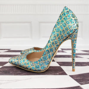 Plaid Shiny Sequins Italian Style Pumps