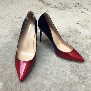Black Red Women Pointed Toe High Heels Patent Leather