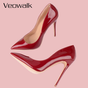 Chili Red Women Patent Leather Pumps Shoes