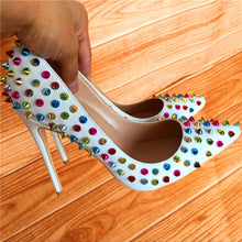 White Pumps Multicolor Rivets High Heels
