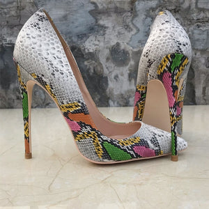 Snake-effect embossed High Heel Pumps