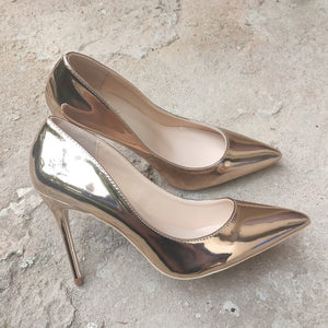 Champagne Gold Patent Leather Pumps