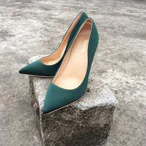 Green Silk Pump Shoes