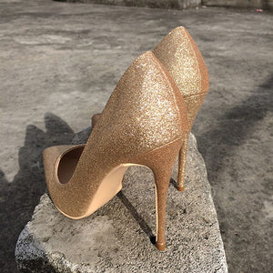 Golden Glitter High Heel Pumps