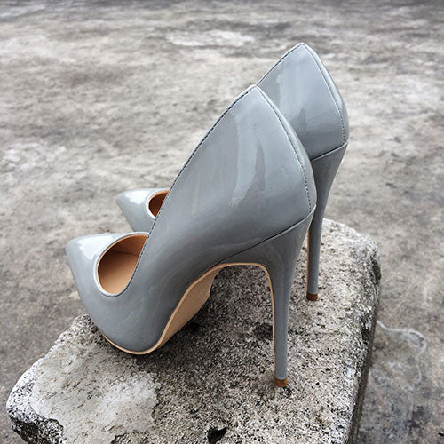 Grey Patent leather Pumps Shoes