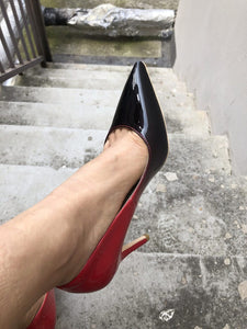 Red Black Patent Leather Pumps
