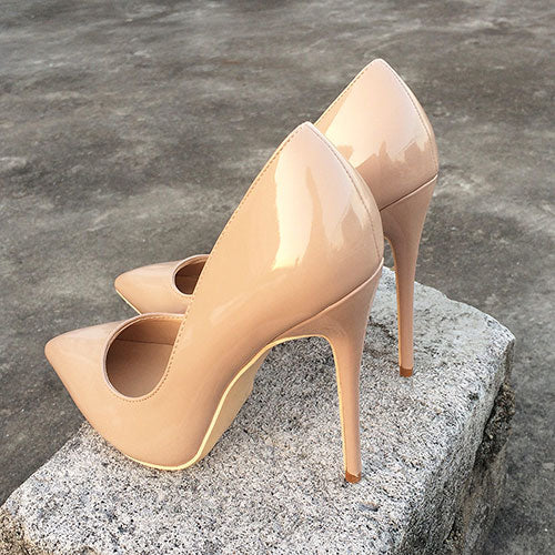 Nude Patent High Heel Pumps
