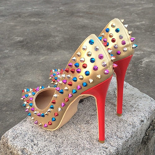 Multi color rivets Style High heels