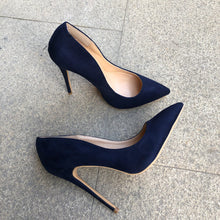 Synthetic Suede Pumps Navy Blue - Sherilyn Shop