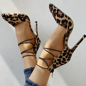 Leopard  Cross-tied pumps Shoes - Sherilyn Shop