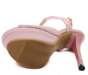 Pink And Gray Platform High Heels Sandals - Sherilyn Shop