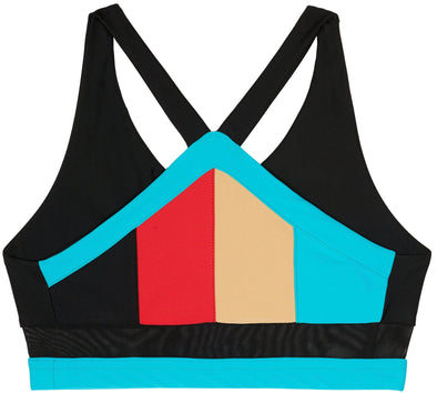 Red black nude turquoise triangle backed sports crop bra back flat view