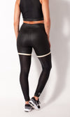 Leather look legging with mesh rear view