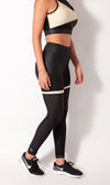 Leather look legging with mesh side view