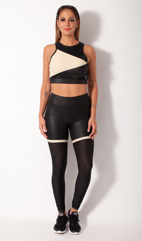 leather look legging  shown with matching bra