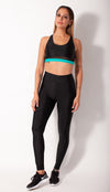 Black legging flat front view on model