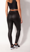 Liquid black leather-look legging rear view on model